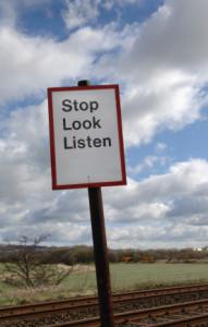Stop Look Listen Sign